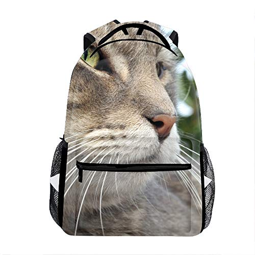 School Backpack Durable Children School Book Bags Cat Muzzle Tabby Whiskers Nose