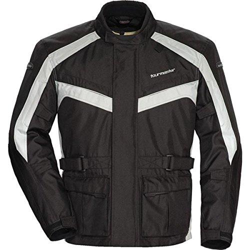 (TourMaster Saber 4.0 Men's 3/4 Outer Shell Textile Motorcycle Jacket (Silver/Black, Medium))
