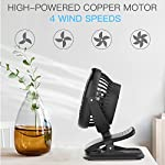 Clip on Fan Battery Operated Fan, USB or 2600mAh Rechargeable Battery Powered Small Desk Fan Whisper Quiet with 4 Speed Swivel 360° Portable Stroller Fan for Baby Stroller Home Office Camping, Black 13 【2018 Newest Upgraded Clip On Desk Fan】Ommani clip on fan optimized the fluid mechanics structure to make enhanced airflow but operate quieter. Sleek design with smoother fringe and more stable head that won't get loose easily, really a neat personal fan makes you cool. 【4 Speeds, Powerful Motor, Whisper Quiet】Preferably 4 speeds from breeze to strong wind for all your needs. Powerful brushless & rust-less copper-core motor makes strong wind up to 80ft/s like sticking your head out the window when you're on the freeway, while being more durable and quieter, minimal noise low to 30db, won't bother even your baby's sleep. 【USB or 2600mAh Rechargeable Battery Powered】Upgraded with the best quality rechargeable & replaceable battery, last 3 - 8 HOURS depends on the wind speed. It can work and charge at the same time by laptop, power bank or USB charger via the supplied micro USB cord, which saves your money and hassle of buying batteries.