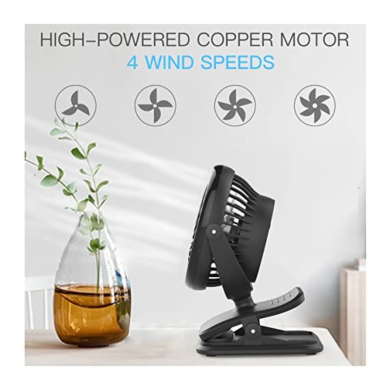 Clip on Fan Battery Operated Fan, USB or 2600mAh Rechargeable Battery Powered Small Desk Fan Whisper Quiet with 4 Speed Swivel 360° Portable Stroller Fan for Baby Stroller Home Office Camping, Black 4 【2018 Newest Upgraded Clip On Desk Fan】Ommani clip on fan optimized the fluid mechanics structure to make enhanced airflow but operate quieter. Sleek design with smoother fringe and more stable head that won't get loose easily, really a neat personal fan makes you cool. 【4 Speeds, Powerful Motor, Whisper Quiet】Preferably 4 speeds from breeze to strong wind for all your needs. Powerful brushless & rust-less copper-core motor makes strong wind up to 80ft/s like sticking your head out the window when you're on the freeway, while being more durable and quieter, minimal noise low to 30db, won't bother even your baby's sleep. 【USB or 2600mAh Rechargeable Battery Powered】Upgraded with the best quality rechargeable & replaceable battery, last 3 - 8 HOURS depends on the wind speed. It can work and charge at the same time by laptop, power bank or USB charger via the supplied micro USB cord, which saves your money and hassle of buying batteries.