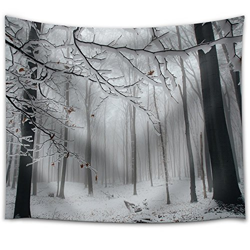 Forest Covered in Snow and with Some Fog Fabric Tapestry