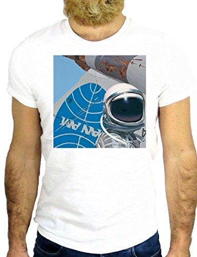 T SHIRT Z0736 PAN AM SPACE COOL VINTAGE ROCK BIG BANG USA AMERICA FUN GGG24 BIANCA - WHITE L