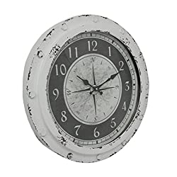 Metal Wall Clocks Weathered White Metal Round Compass Rose 18 Inch Wall Clock 18 X 18 X 2.25 Inches White Model # MC-211