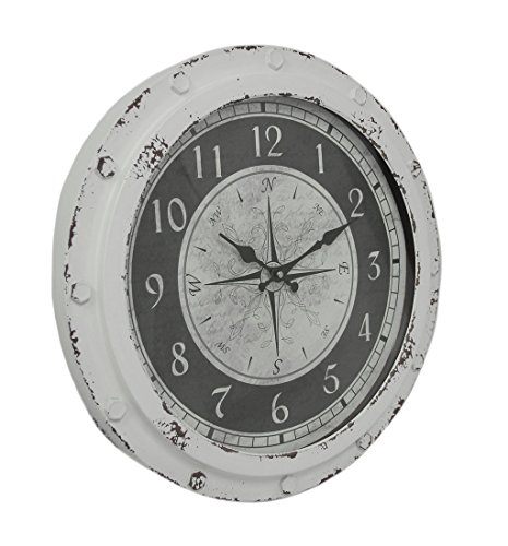 Zeckos Weathered White Metal Round Compass Rose 18 inch Wall Clock