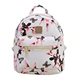 Women Backpack Shoulder Bag Floral Printing Travel Bags PU Leather Backpacks (white) JUNERAIN