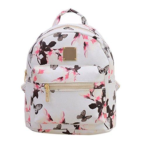 JUNERAIN Women Backpack Fashion Shoulder Bag Floral Printing Travel Bags PU Leather Backpacks -