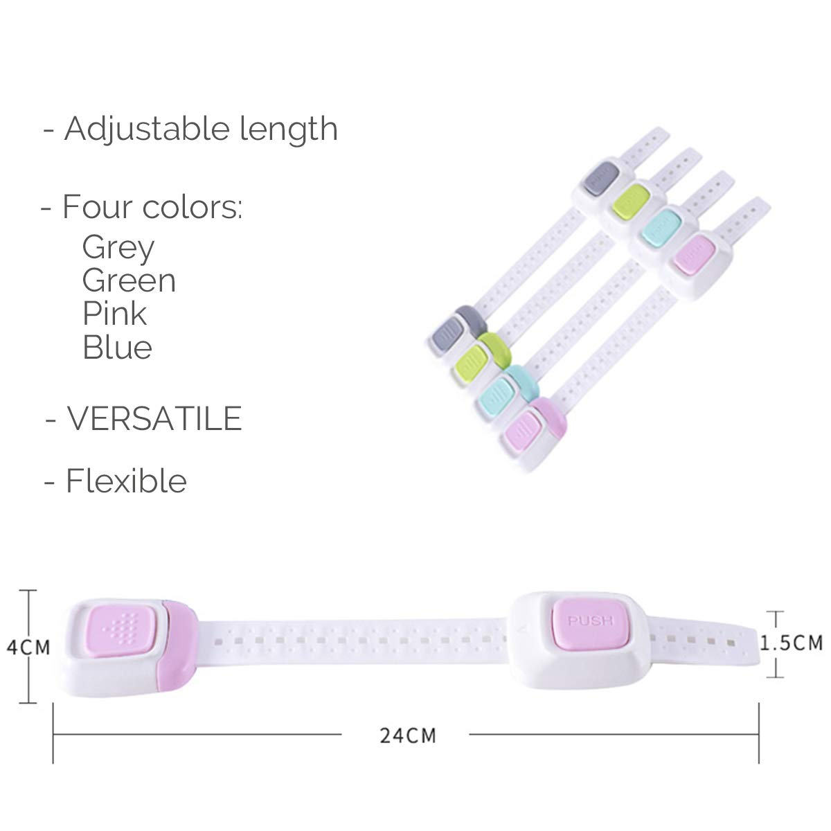 Adjustable Length /& Flexible Blue Pack of 4 Neotech Care Baby Safety Locks