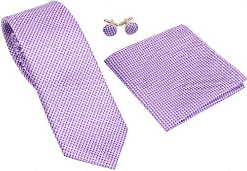 Kingsquare Checkered Silk Tie, Pocket Square, and Cufflinks Set - 3 in 1 (Purple) (Purple Cufflinks Square)