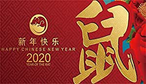 Leowefowa 15x8ft Happy Chinese New Year 2020 Year of The Rat Backdrop for Photography Vinyl Cute Mouse Sketch Red Peony Flowers Red Background New Year Party Banner Child Adult Event Show Shoot