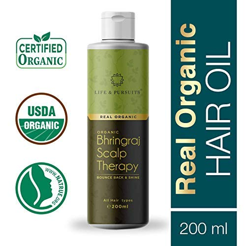Life & Pursuits USDA Organic Hair Oil For Hair Growth With Bhringraj, Amla, Coconut Oil & Castor Oil   Indian Ayurvedic Dry Scalp Therapy (200 ml/6.76 fl oz)