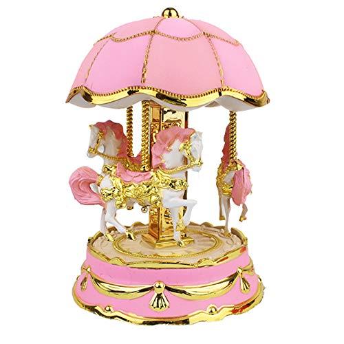 (Blueseao Kids Merry-Go-Round Horse Music Box, Carousel Music Box - Girls Christmas Birthday Gift (Pink) )