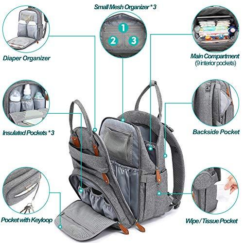 Baby Changing Bag Backpack, BabbleRoo Nappy Changing Back Pack Diaper Bags with Changing Mat & Pacifier Holder for Mom & Dad (Lignt Grey)