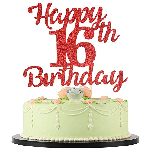LVEUD 16th Birthday Cake Topper for Happy Birthday, 16 red Flash 16th Cake Topper,Happy Birthday Cake Topper Cake Ornament (16th)