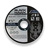 25 Pack Black Hawk 4-1/2'' x .040 x 7/8'' Arbor Metal & Stainless Steel Cut Off Wheels - Ultra Thin Discs
