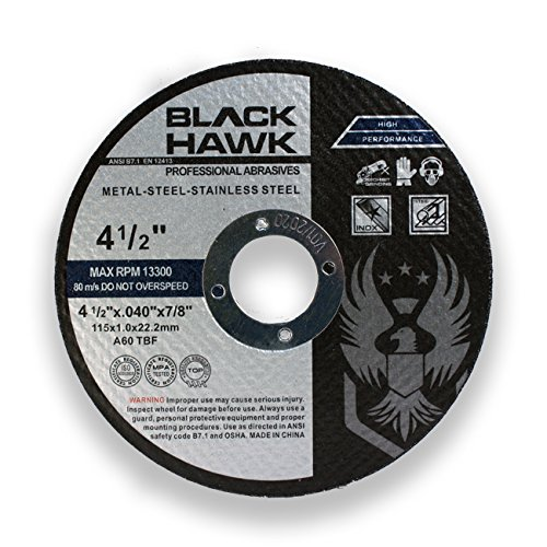 25 Pack Black Hawk 4-1/2'' x .040 x 7/8'' Arbor Metal & Stainless Steel Cut Off Wheels - Ultra Thin Discs by Hardware & Outdoor