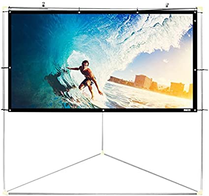 Portable Fold Outdoor Movie Travel Projector Projection Screen Film 72 Inch 16:9