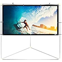 Pyle 100 Outdoor Portable Matt White Theater TV Projector Screen w/Triangle Stand - 100 inch, 16:9, 1.15 Gain Full HD Projection for Movie/Cinema/Video/Film Showing outside Home