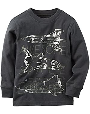 Carter's Boy Long Sleeved Space Explorer Tee; Charcoal, 3 Months