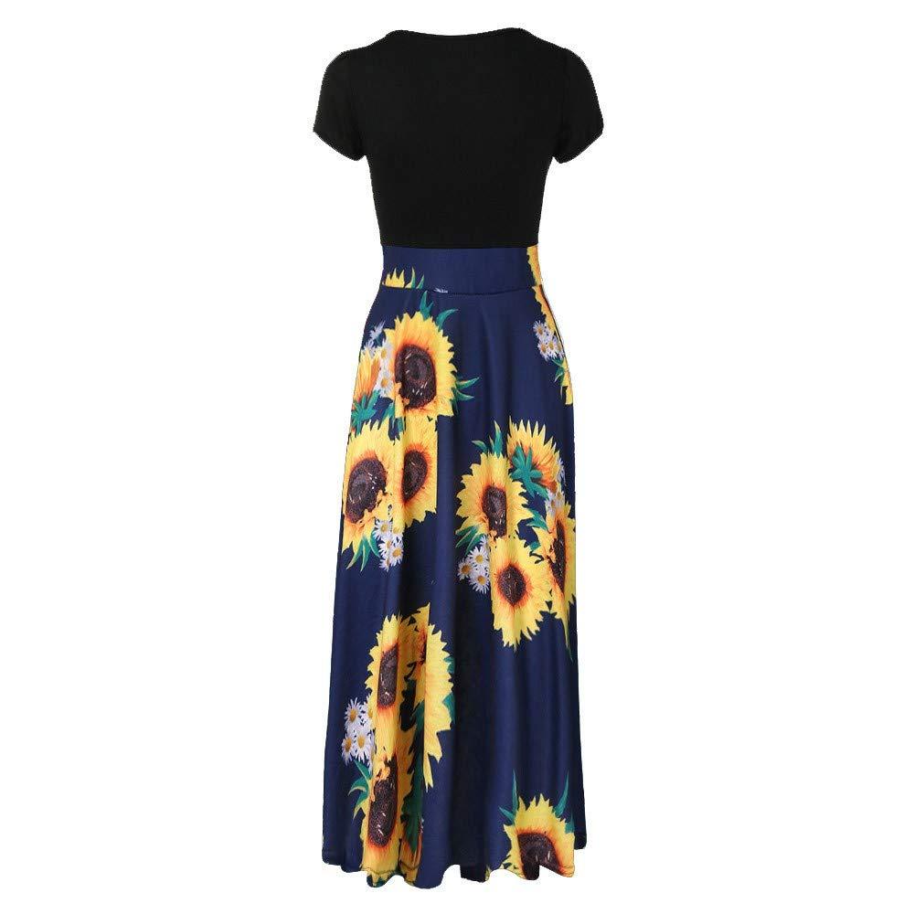 Pervobs Women Summer Sunflower Print Sundress Short Sleeve High Waist Patchwork Casual Swing Maxi Dress Vestido
