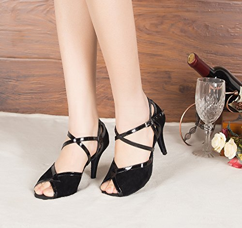 Minitoo QJ6130 Womens Peep Toe Med Heel Suede Salsa Tango Ballroom Latin Ankle Wrap Dance Sandals Black-10cm Heel yS6sHaEw