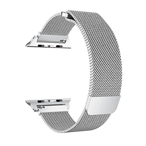 SICCIDEN Compatible for Apple Watch Band 38mm, Milanese Mesh Loop Magnetic Closure Clasp Stainless Steel Replacement iWatch Band Compatible for Apple Watch Series 3 Series 2 Series 1, Silver by SICCIDEN