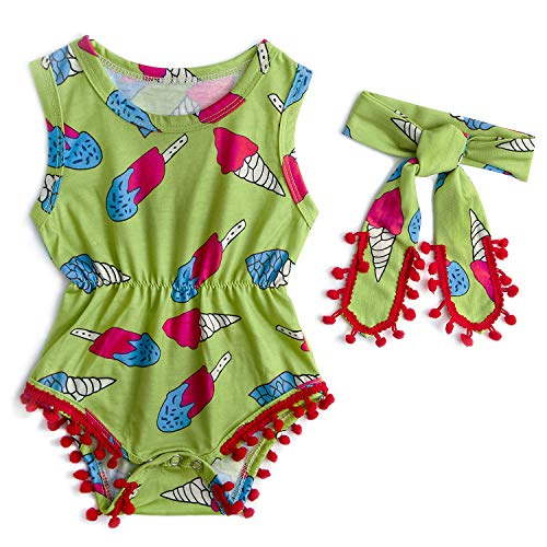 Baby Bodysuit Romper Fashion One Piece Rompers 3D Printed Ice Cream Funky Bubble Tassel Wearing Clothes Set Cuteness Dress Suits Hippie Outfit + Hairband for Infant Children Little Girl
