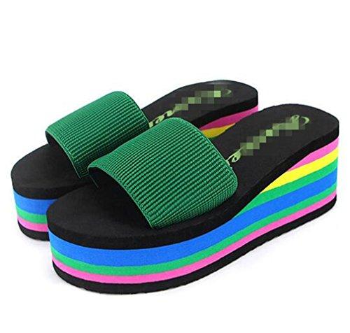 Boowhol - Sandalias de Material Sintético para mujer plateado plata Verde