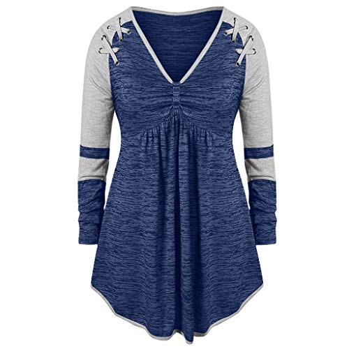 Kumike Fashion Women's Plus Size V-Neck Ruched Patchwork Grommet Ribbons Color Block Top