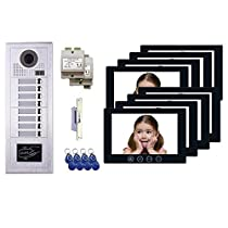 8 Tenant Apartment Building Entry MT Series Video Intercom System Kit 7 Inch Monitor