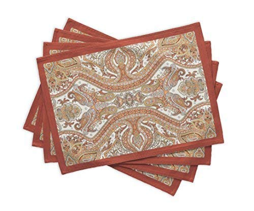 (Maison d' Hermine Kashmir Paisley 100% Cotton Set of 4 Placemats 13 Inch by 19 Inch.)