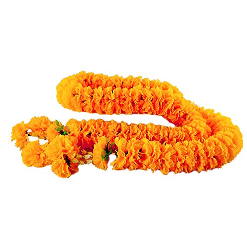 Artificial Big Size Yellow Marigold Garland 1.20 meter for Make A Wish (White Dollar Tree Petals Rose)