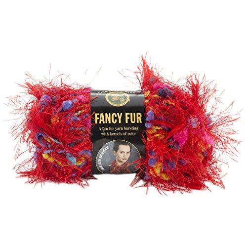 - Lion Brand Fancy Fur Yarn - Rainbow Red