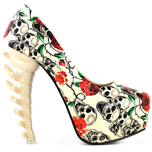 Show-Story-Ladies-Skull-Rose-Print-Platform-Bone-Heel-Party-Club-PumpsLF80610