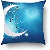 Pillow Covers Decorative Islamic Greeting Eid Mubarak Muslim Holidays Eid Ul Adha Festival Celebration Bulk With Zippered 18x18 Square Pillow Case For Home Bed Couch Sofa Car One Sided