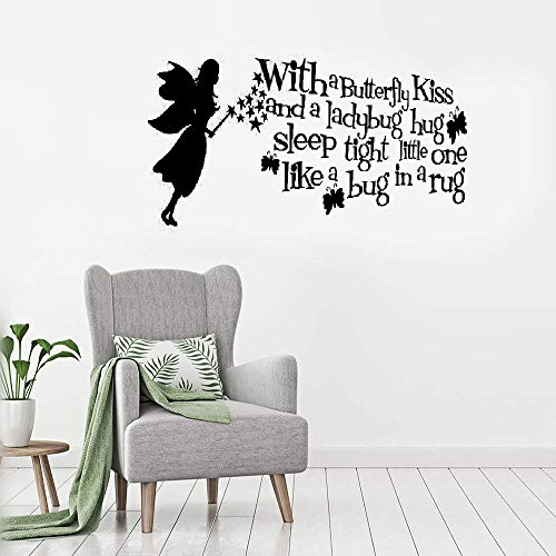 Putaiz Wall Sticker Removable Vinyl Mural Decal Quotes Art with A Butterfly Kiss and A Ladybug Hug Sleep Tight Little One Like A Bug in A Rug