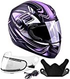 Typhoon Helmets Adult Full Face Snowmobile Helmet With Heated Shield DOT (Purple, XL)