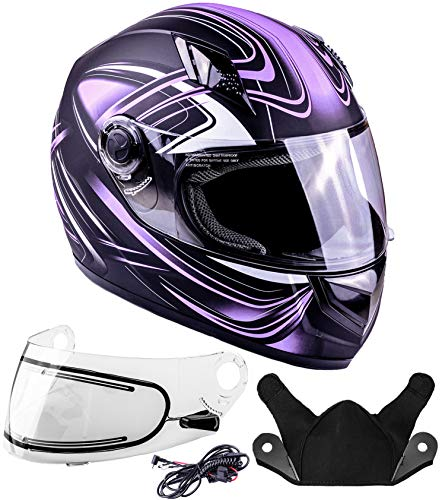 Typhoon Helmets Adult Full Face Snowmobile Winter Helmet With Heated Face Shield DOT (Purple, XL)