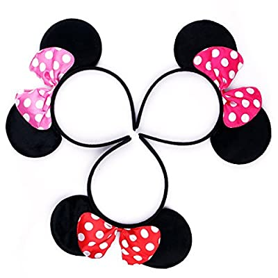RufnTop Mickey and Minnie Mouse Bow Ears Headband(Polka Dot Pink Red L.Pink): Health & Personal Care