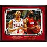 Autographed Wade Photograph - Derrick Rose & Framed 16x20 - Autographed NBA Photos
