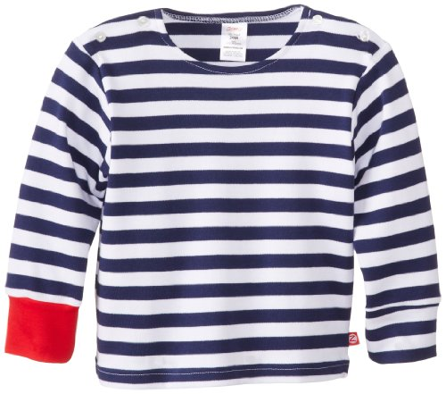 Zutano Baby-Boys Newborn Primary Stripe Long Sleeve Sailing T-Shirt, Navy/White, 6 Months