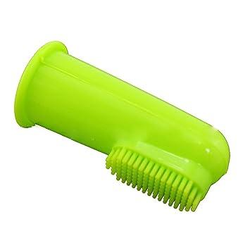 Songrong Bebé, la Mujer Embarazada, Gato y Perro del Dedo del Cepillo de Dientes Suave de higiene Dental Cepillos Pequeño Transparente Verde sin Puntos (1 ...