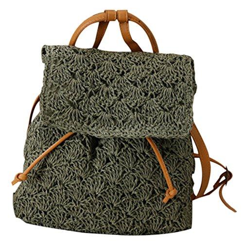 Green Leisure Beach Girl Mori Straw Backpack Straw Bag Bag Handbag Resort Shoulder Seaside BSqc7nW
