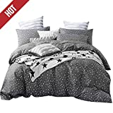 【LATEST ARRIVAL】Black Duvet Cover Queen Cotton Star Duvet Cover Set Full 3 Piece Bedding Set Comforter Cover Starry Sky Lightweight with Zipper Ties for Kids Boys Girls Men Women,NO Comforter NO Sheet