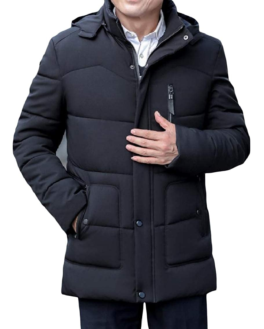 Fieer Mens Velvet Hood Pocket Zipper Thickened Solid Plus Size Down Jackets