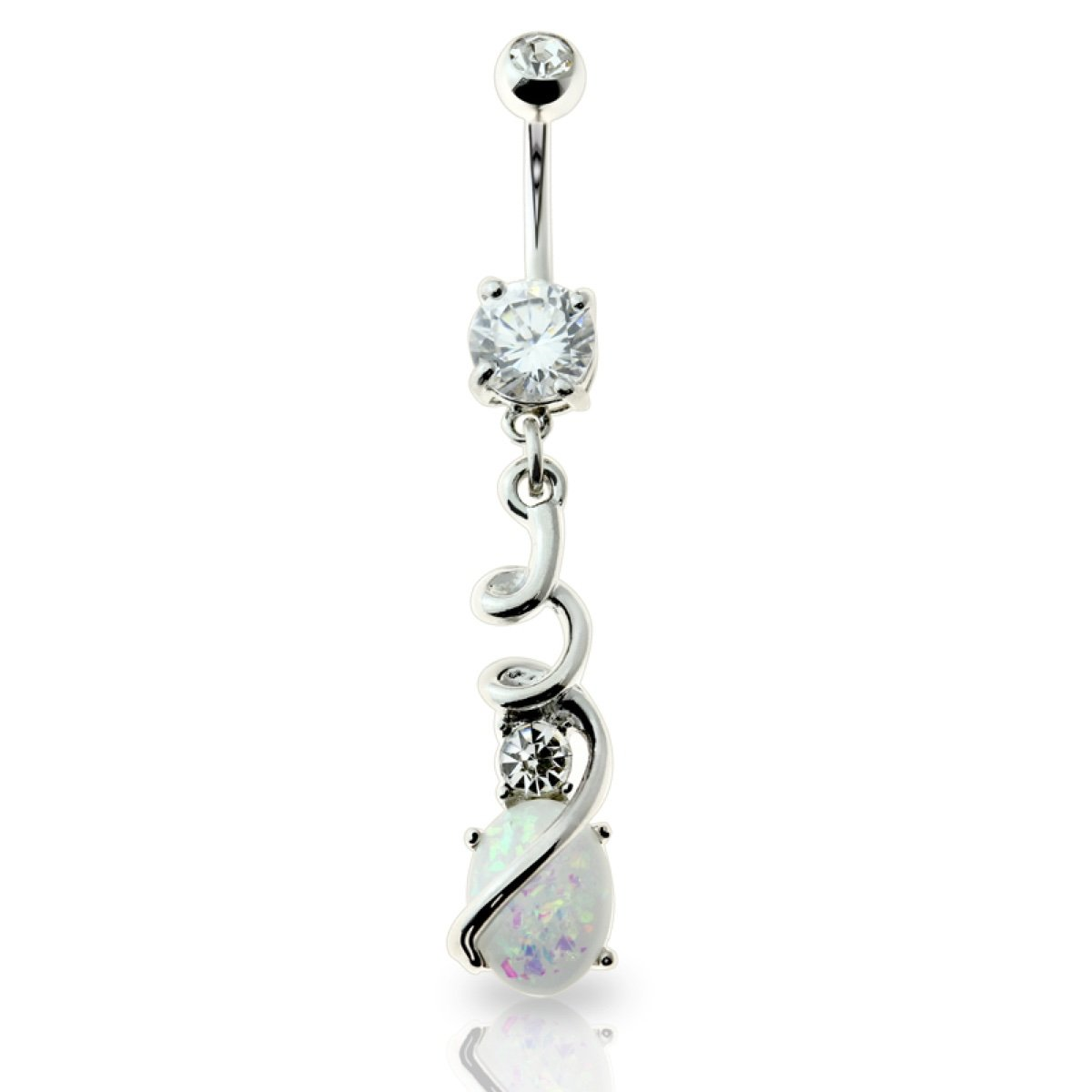 1.6mm Jewelry by Sweet Pea SGSS Curv BB w Matching Top Bottom /& Dangle Charms 14G ,13//32 1