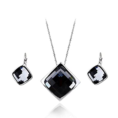 """a3e04a71800 Image Unavailable. Image not available for. Color: Crystals from Swarovski  Grey Silver Night Set Pendant Necklace 18"""" Dangle Lever Back Earrings  18"""