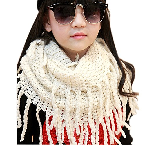 Eforstore Kids Knit lana suave infinity–Braga de cuello larga bufanda chal,  Blanco