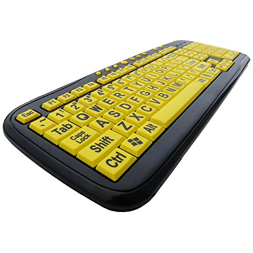 Large Print Yellow Keys USB Keyboard for Low Vision By DSI Photo #3