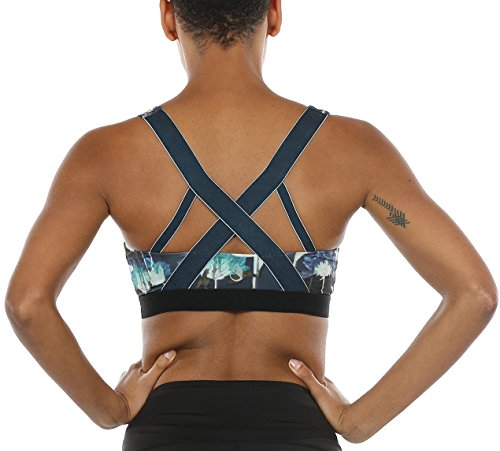 icyzone Women's Workout Yoga Clothes Activewear Racerback Strappy Sports Bras(M, Lotus-Cross Back) (Lotus Yoga Clothing)