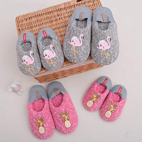 Indoor Flamingo Slid Women's ALOTUS Warm Cute Slippers Woolen Red Soft Anti Animal vZwFCTq